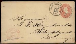 USA Germany 1883 Transatlantic New Orleans LA Cover Postal Stationary Enti 87705