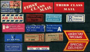 VIA AIR MAIL First Class Par Avion Luftpost Label Collection USED