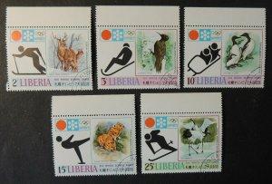 Liberia 1972 olympics winter sapporo animals birds deer sport used