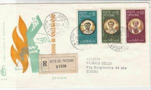 Vatican 1959 Regd Vatican City Label Cancels Holy Men Stamps FDC Cover Ref 35087