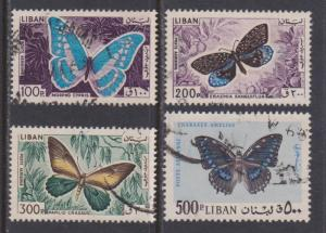 Lebanon Airmail # C433 to # C436 , Butterflies & Moths F-VF used - I Combine S/H
