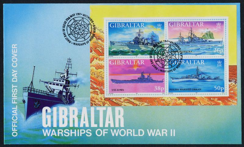 Gibraltar 732 on FDC - WWII Warships
