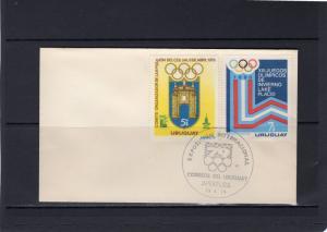 Uruguay 1979 Sc#1019/1020 Moscow Olympics 80/Lake Placid Set (2) FDC