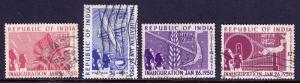 INDIA — SCOTT 227-230 (SG 329-332) — 1950 REPUBLIC SET — USED — SCV $13.25