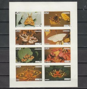 Staffa Local. 1974 issue. Butterflies IMPERF sht of 8. Scout Anniv. on sheet. ^