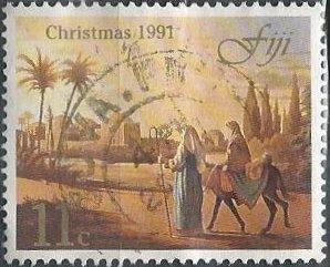 Fiji 649 (used) 11c Christmas: journey to Bethlehem (1991)