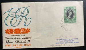 1953 Cayman Islands Coronation first day cover FDC Queen Elizabeth II QE2 To Usa