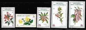 COMORE ISLANDS 96-98, C37-C38 MNH FLOWERS SET