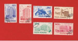 Romania  # 3679-3684  VF used  Hotels  Free S/H