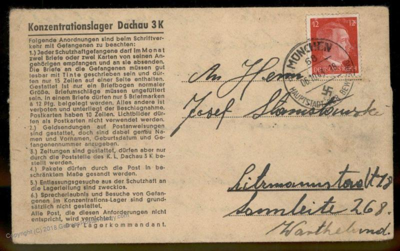 3rd Reich Germany Concentration Camp KL Dachau Muenchen 68 Subcamp Cover 91653