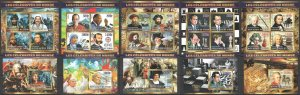 XZ0101-5 2015 CHAD CELEBRITIES SHIPS HUMANISTS COMPOSERS CHESS WAR 5KB+5BL MNH