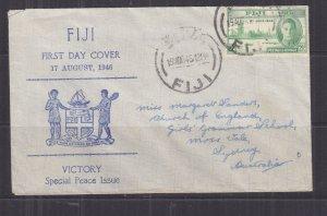 FIJI, 1946 2 1/2d. Victory on cover, Suva to Australia.