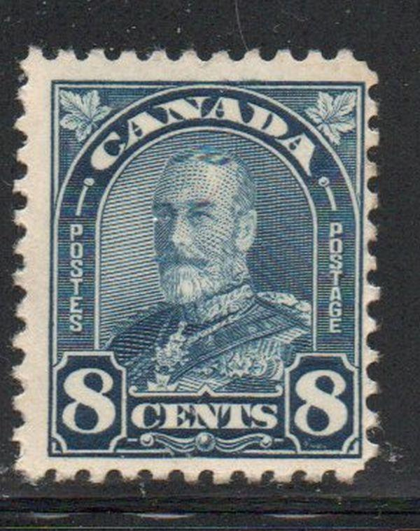 Canada Sc 171 1930 8c dark  blue George V Arch issue stamp mint