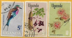 Uganda 1965-9 HVs Birds, Wild Flowers sg 124, 143-4 used