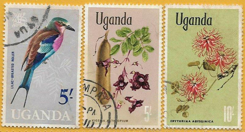 Uganda 1965-9 HVs Birds, Wild Flowers sg 124, 143-4 used