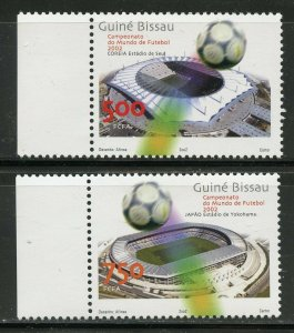 GUINEA BISSAU 2002  WORLD CUP CHAMPIONSHIP SOCCER SET &  SOUVENIR SHEET MINT NH