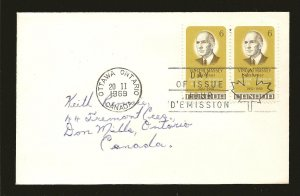 Canada 491 Vincent Massey Pair 1969 First Day Cover