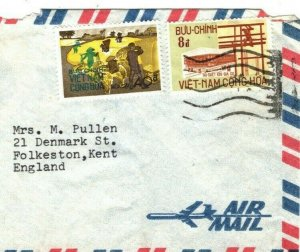 SOUTH VIETNAM Air Mail Cover GB Folkestone {samwells-covers} AA209