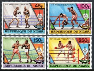 Niger 484-487, MNH. Pre-Olympic, Moscow-1980. Boxers, Flame, Olympic Emblem,1979