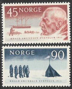 NORWAY 1961 Roald Amundsen South Pole Expedition Set Sc 399-400 MNH
