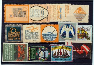 Germany Czech Early Poster Labels MH Mnh Unused x 13 (NT 3053s