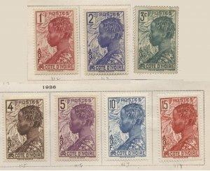 Ivory Coast 112-118 (mh) Baoulé woman (1936/40)