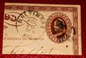 USA UX1 1873, 1¢ brown on buff used with dated cancel CV 450.00