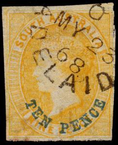 South Australia Scott 23 (1867) Used F, CV $35.00 M
