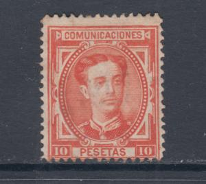 Spain Sc 230 used 1876 10p vermilion King Alfonso XII, light cancel, sound