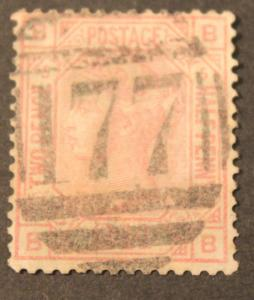 GREAT BRITAIN USED 2 1/2 PENCE CLARET QUEEN VICTORIA STAMP SCOTT # 67