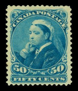 CANADA 1893 Queen Victoria - Widow Weed -  50c blue  Scott # 47 mint MH