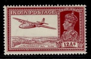 INDIA GVI SG258, 12a lake, M MINT. Cat £18.