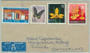 67448  SRI LANKA - Postal History -  COVER  to SWITZERLAND -  FLOWERS Butterfly