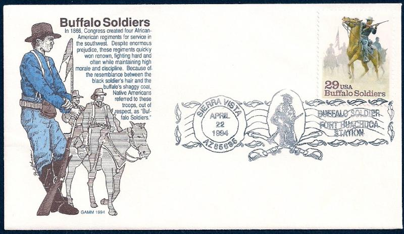 UNITED STATES FDC 29¢ Buffalo Soldiers 1994 GAMM