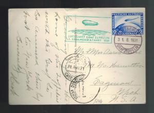 1931 Germany Graf Zeppelin RPPC postcard Cover to USA LZ 127 # C36 1st SAF