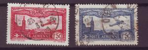 J16284 JLstamps 1930-1 france set used #c5-6 old airplanes