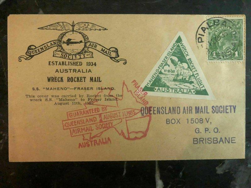 1935 Fraser Island Australia Rocket Mail Society Cover to SS Maheno Wreck