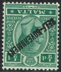 MALTA 1922 SELF GOVERNMENT KGV 1/2D ERROR WMK MULTI CROWN CA INVERTED