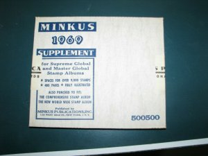 1969 Minkus Supreme Global Stamp Album Pages Supplement Unused complete A-Z