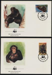 Sierra Leone 586-9 on FDC's - WWF, Endangered Chimpanzees, Outamba-Killimi Park