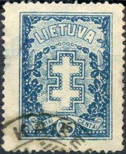Lithuania #215 25c Double -Barred Cross Used/H