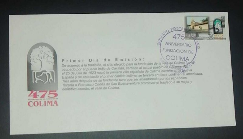 A) 1998, MEXICO, COLIMA FOUNDATION, FDC, 475 YEARS OF ITS FOUNDATION, XF