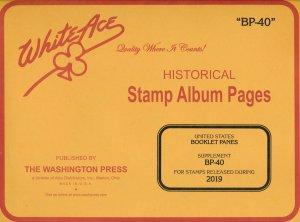 WHITE ACE 2019 US Booklet Panes Stamp Album Supplement BP-40