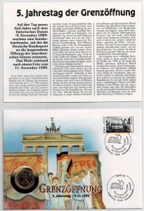 Germany 1995, 5th anniversary of the opening of the border, coin cover