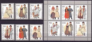 Latvia. 1993. 351-56, bl3. Folk costumes. MNH.