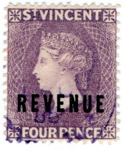 (I.B) St Vincent Revenue : Duty Stamp 4d