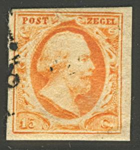 NETHERLANDS #3, 15¢ orange yellow, used, 4 full margins