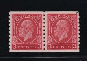 Canada Scott # 207 Pair VF mint lightly hinged nice color cv $ 40 ! see pic !