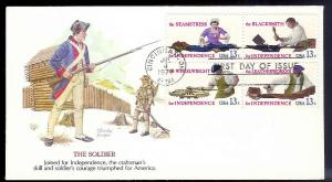 UNITED STATES FDC 13¢ American Crafts block 1977 Fleetwood