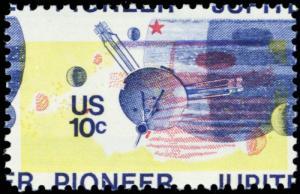 1556, Huge Color Shift ERROR 10¢ Pioneer Jupiter Space Stamp MNH - Stuart Katz